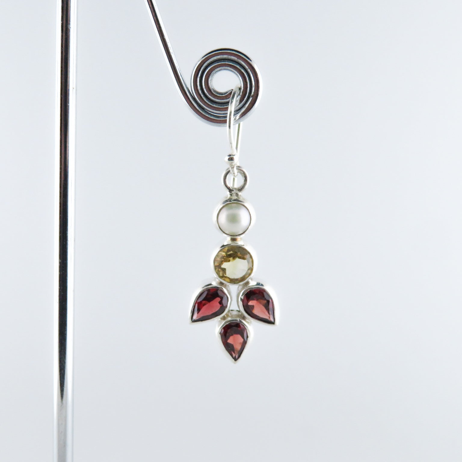 Citrine Sterling Silver Earrings with Garnet and Fresh Water Pearls