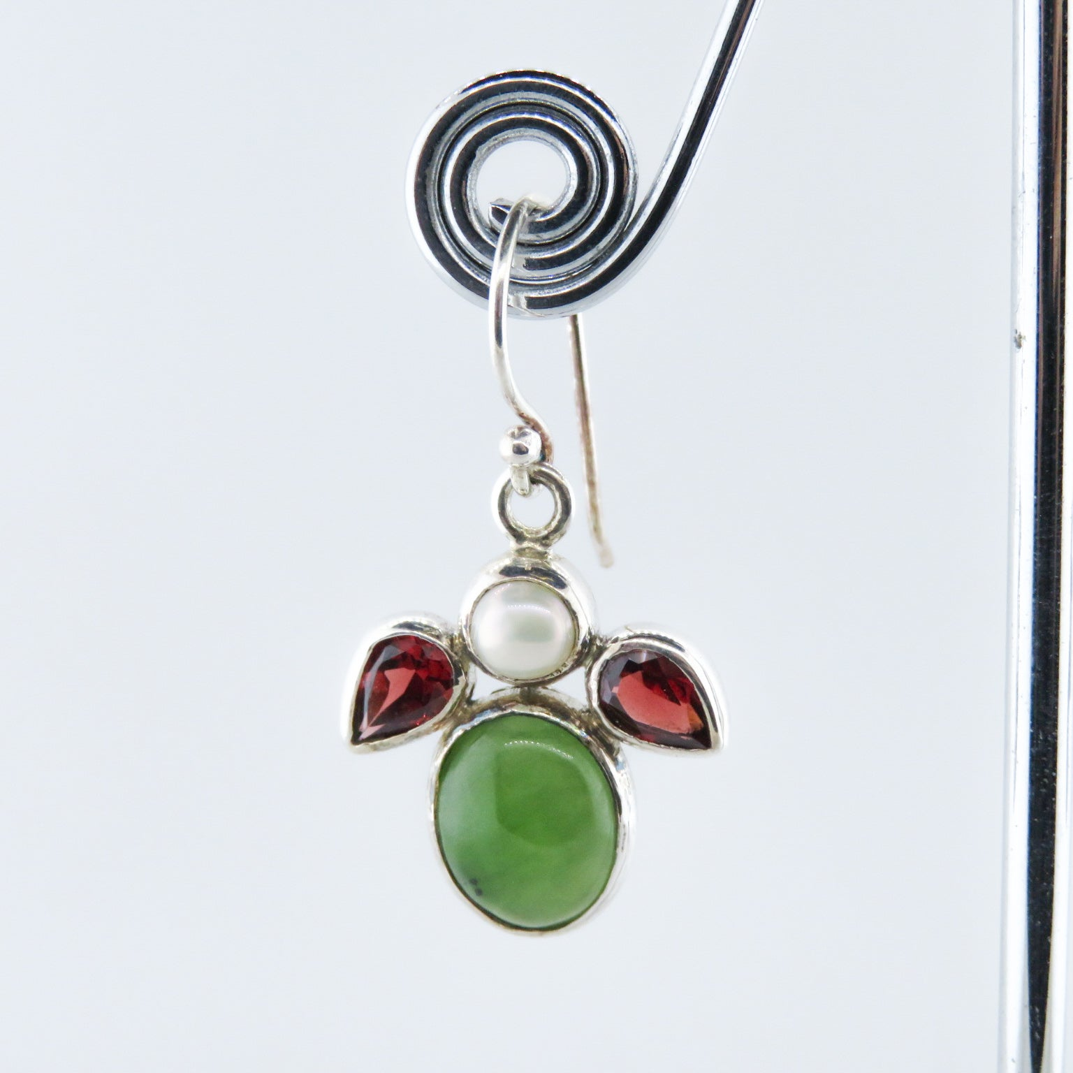 Nephrite Sterling Silver Earrings with Garnet and Fresh Water Pearls