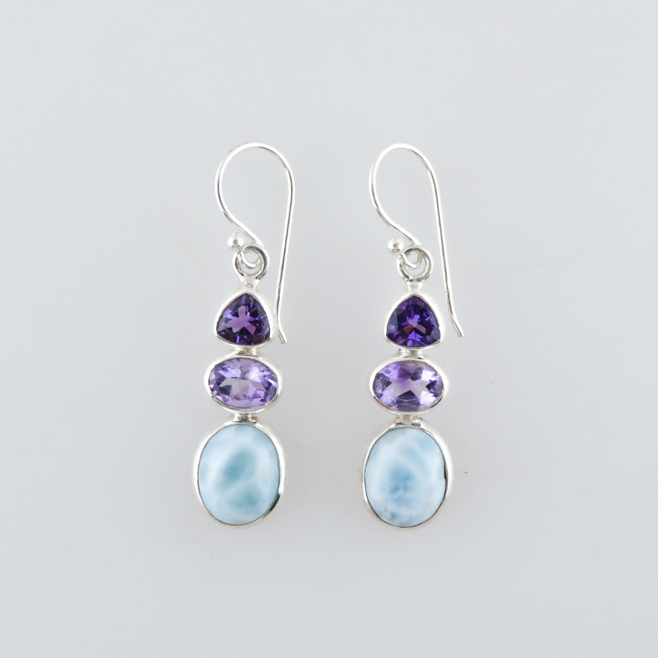 Larimar Stone Sterling Silver Earrings with Amethyst