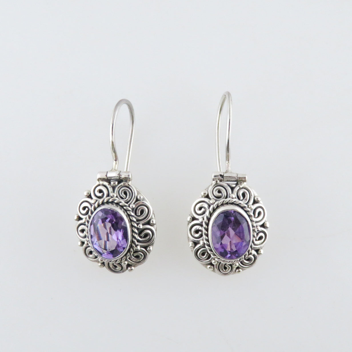 Amethyst Earrings with Sterling Silver