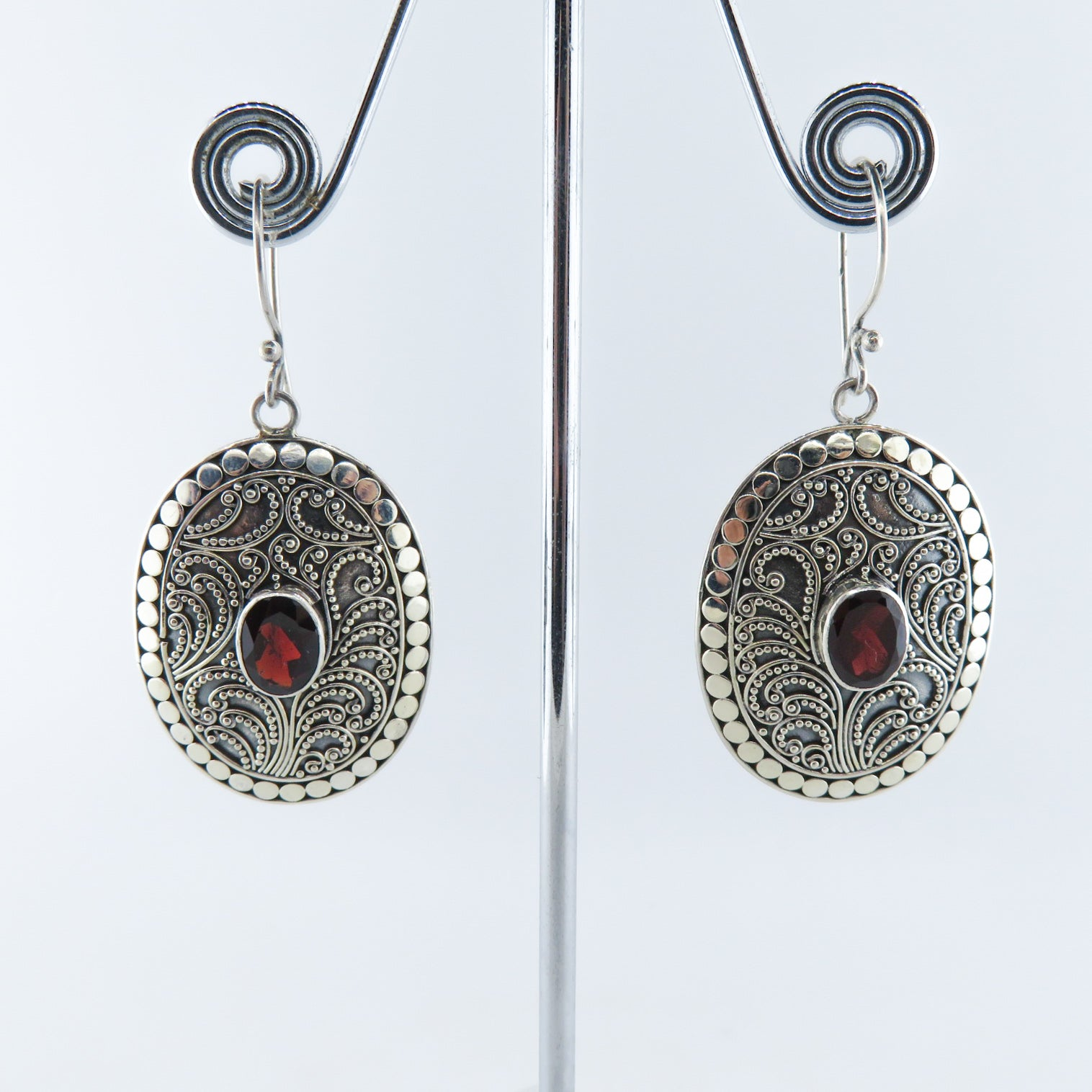 Garnet Earrings with Sterling Silver