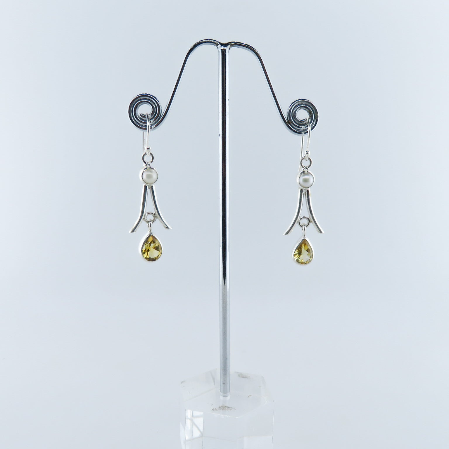 Citrine Sterling Silver Earrings with Fresh Water Pearls