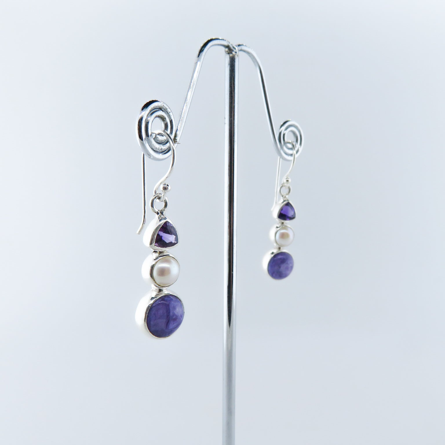 Charoite Sterling Silver Earrings with Amethyst and Fresh Water Pearls