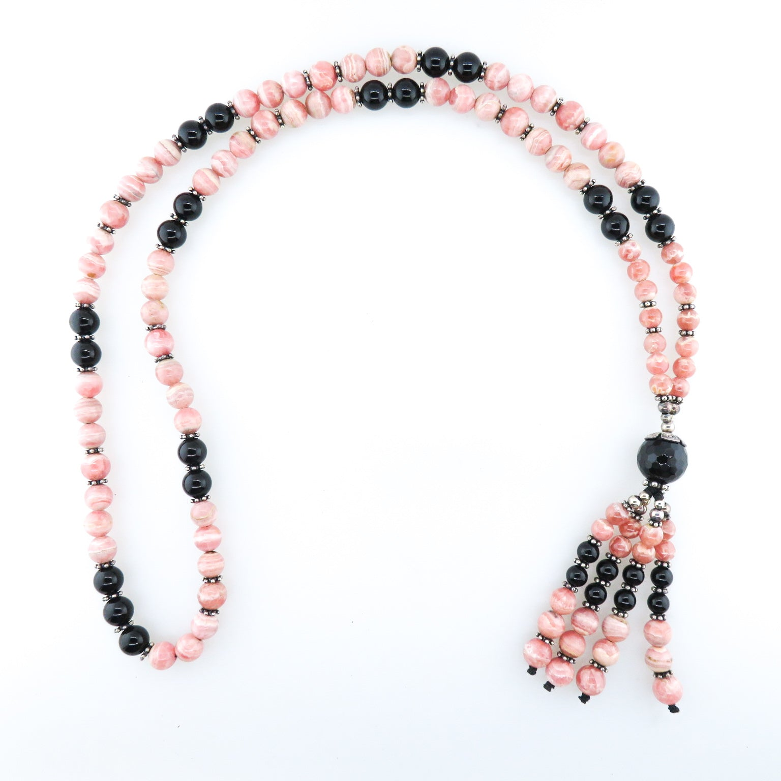 Rhodochrosite Bead Necklace with Black Onyx and Silver Beads