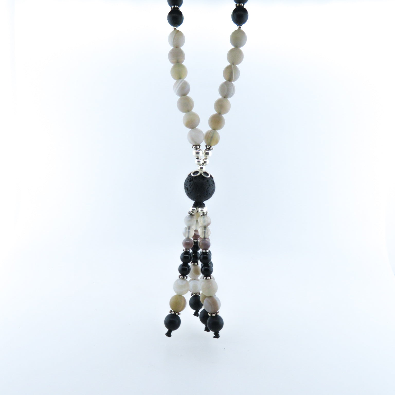 Agate Beads Necklace with Lava, Black Onyx and Silver Beads
