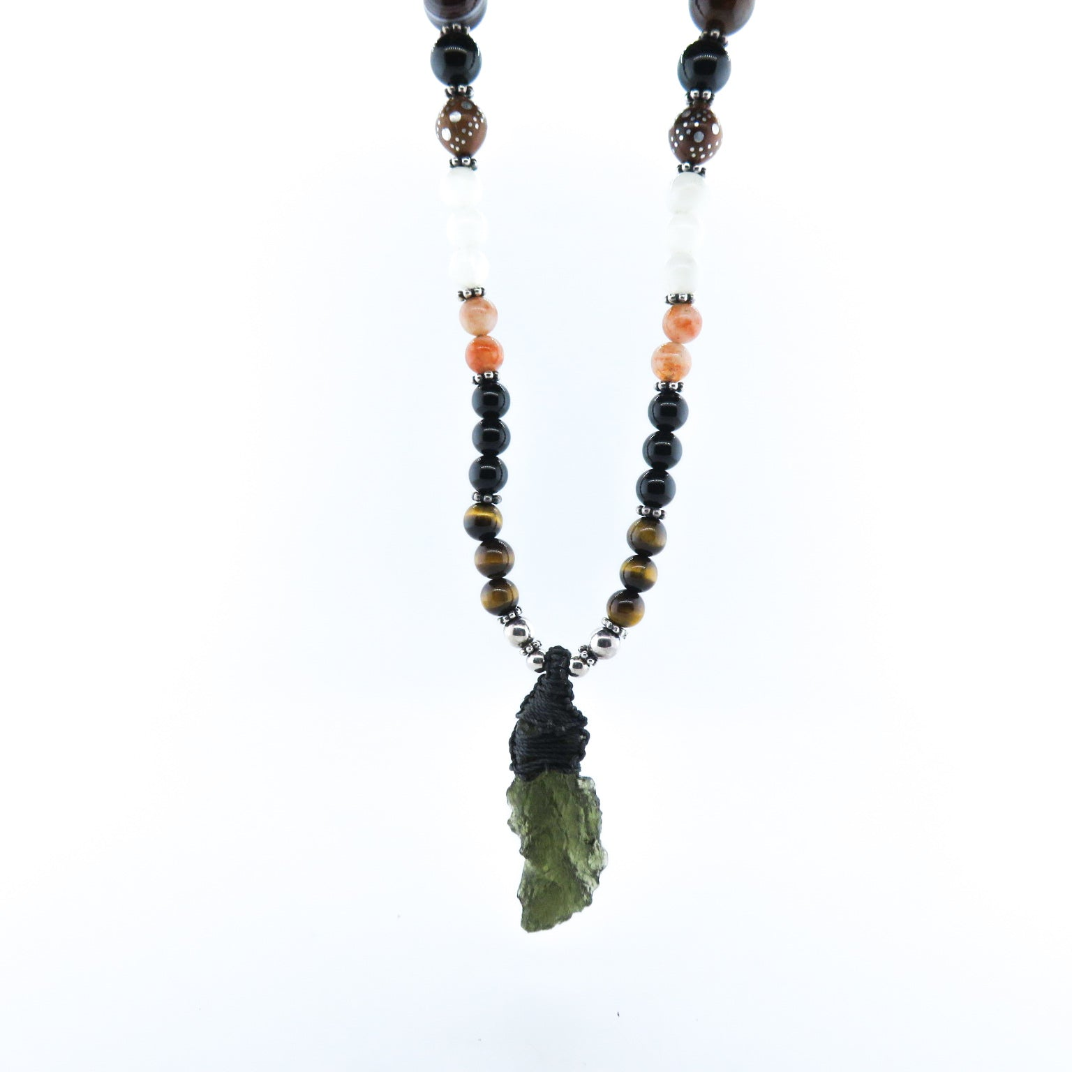 Moldavite Necklace with Tiger's Eye, Agate, Rainbow Moon Stone, Sun Stone, Onyx and Silver Beads