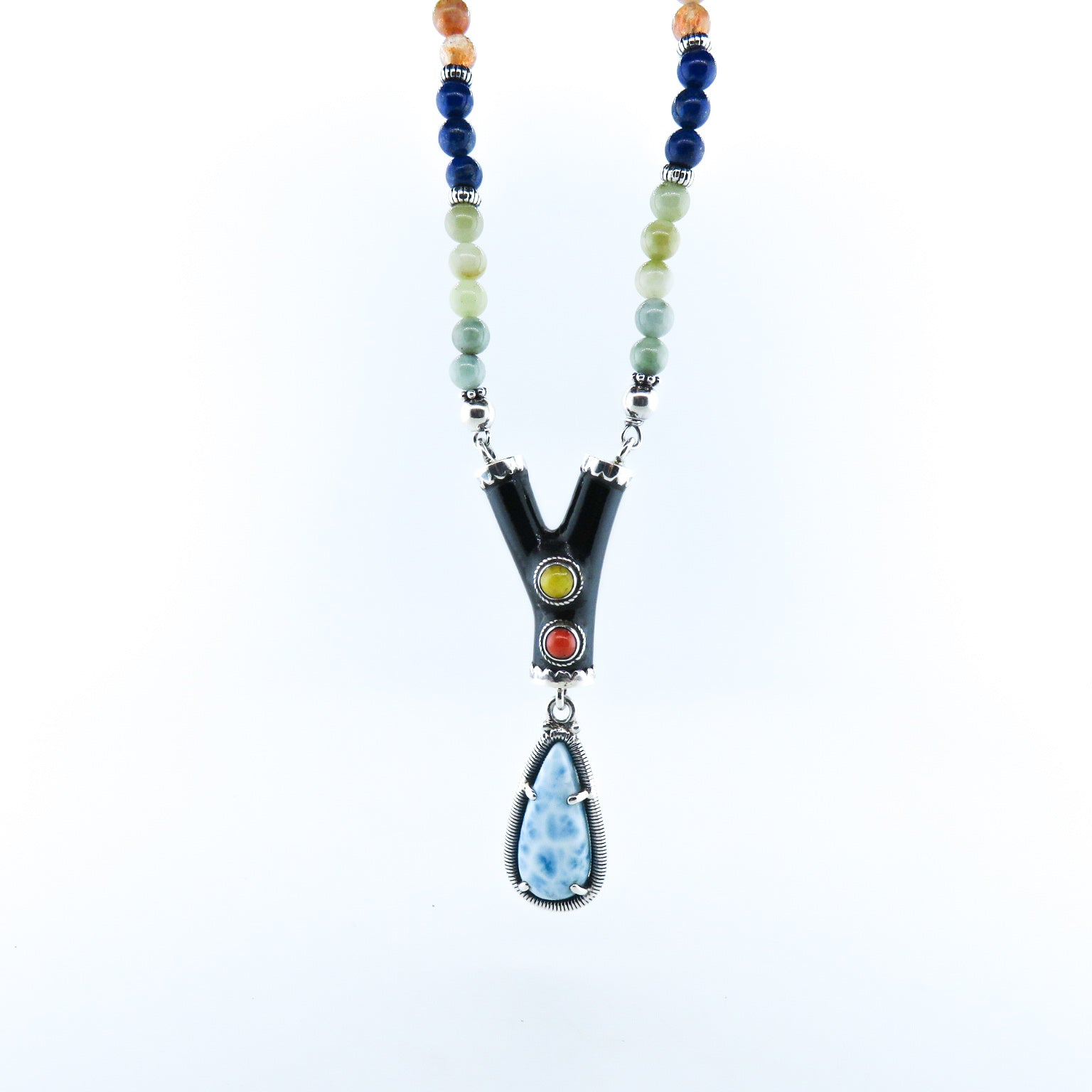 Larimar Stone Necklace with Black Coral, Jade, Lapis Lazuli, Red Coral, Sun Stone, Turquoise, Aquamarine and Silver Beads