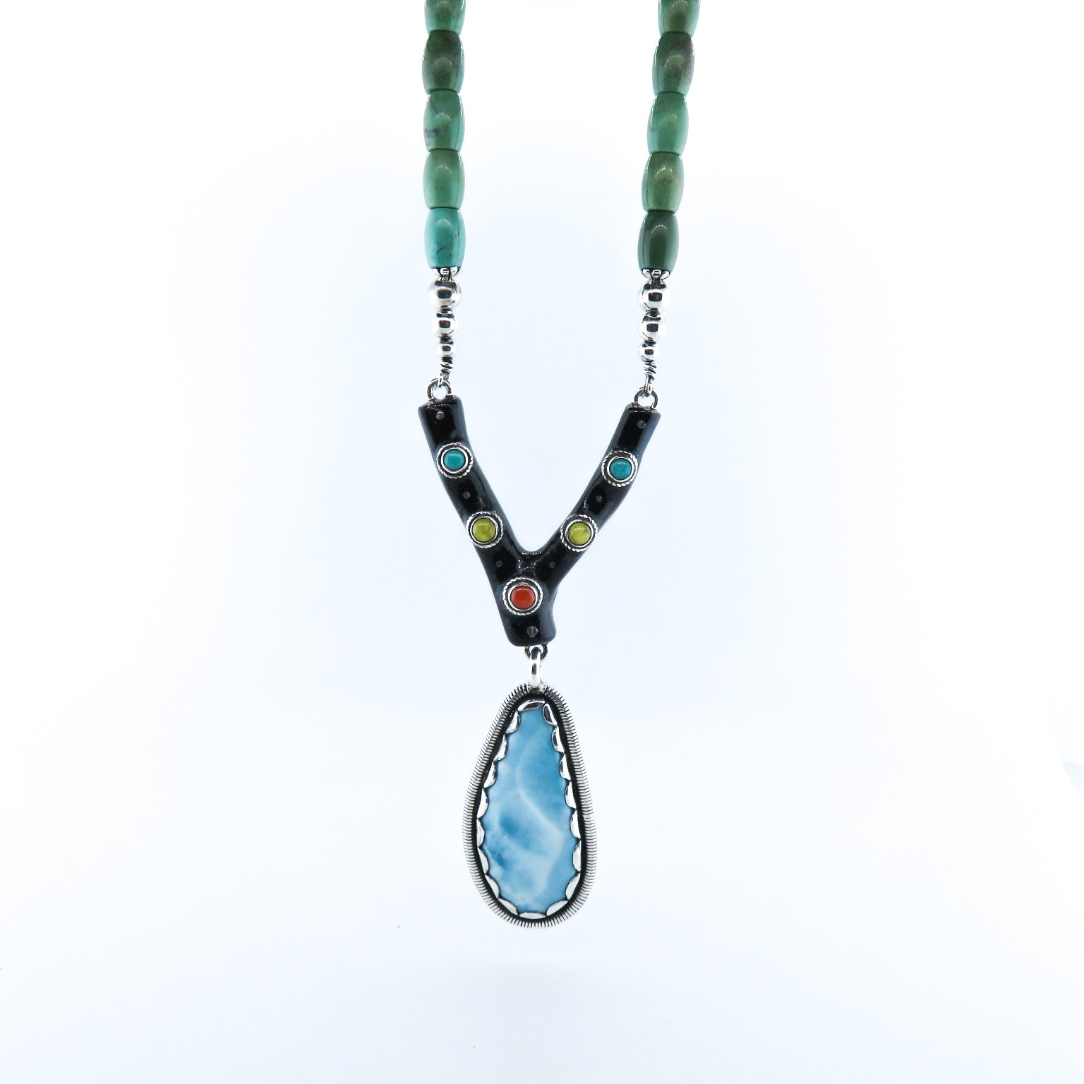 Larimar Stone Necklace with Black Coral, Turquoise, Red Coral, Lapis Lazuli, Aquamarine, Jade and Silver Beads