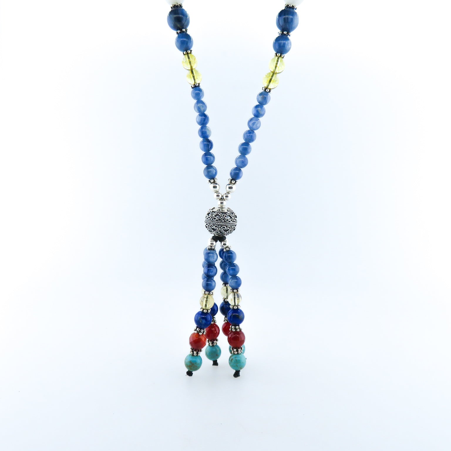 Kyanite Beads Necklace with Citrine, Rainbow Moon Stone, Lapis Lazuli, Carnelian, Turquoise, Jade and Silver Beads