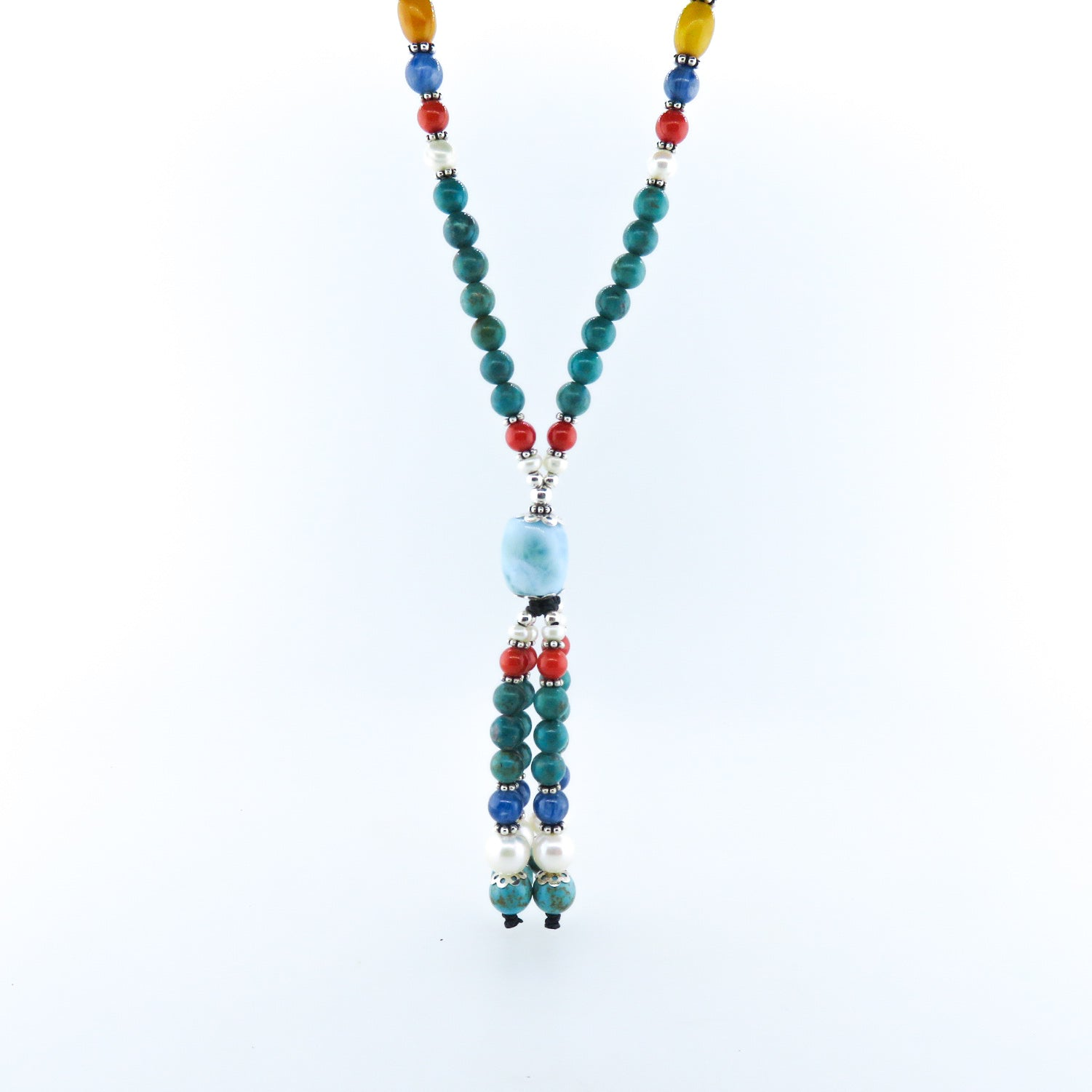 Turquoise Beads Necklace with Larimar Stone, Amber, Red Coral, Kyanite, Fresh Water Pearls and Silver Beads
