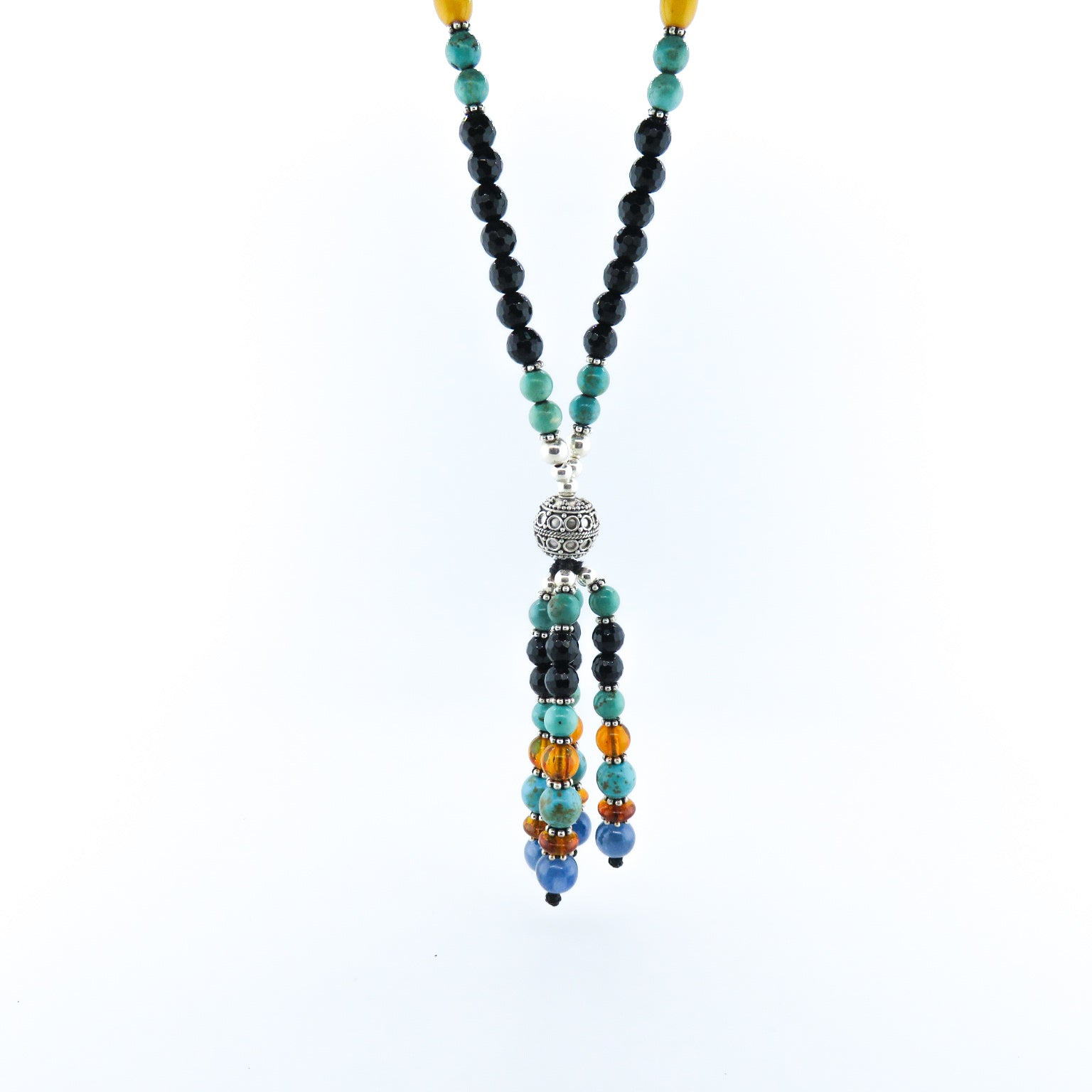 Black Onyx Necklace with Turquoise, Amber, Kyanite and Silver Beads