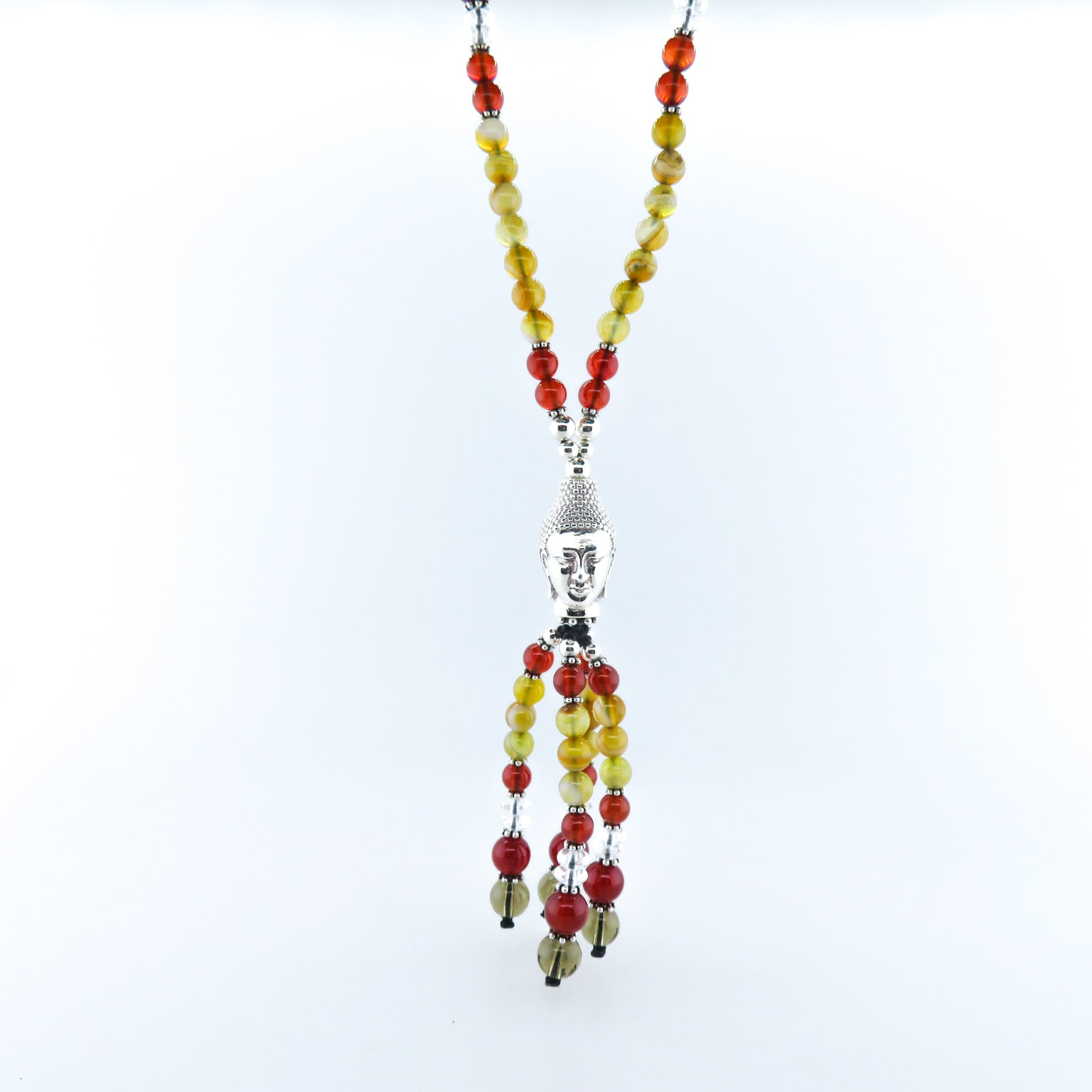 Agate Beads Necklace with Silver Buddha Head, Carnelian, Crystal, Smokey Quartz and Silver Beads