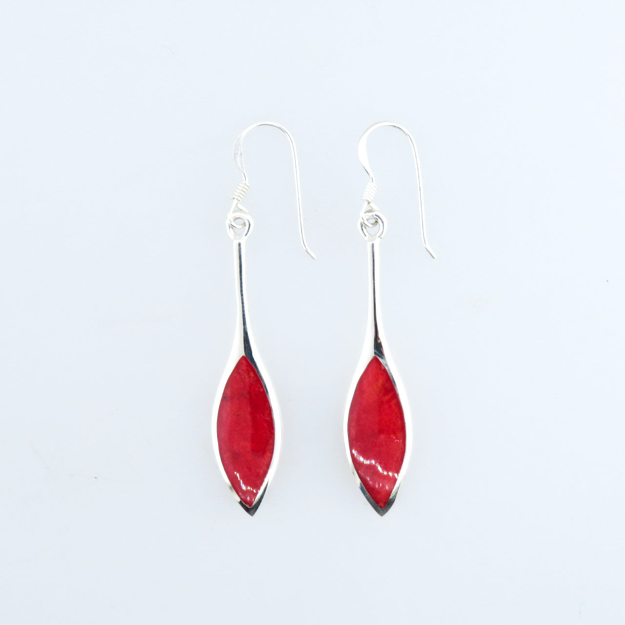 Red Coral Earrings with Sterling Silver