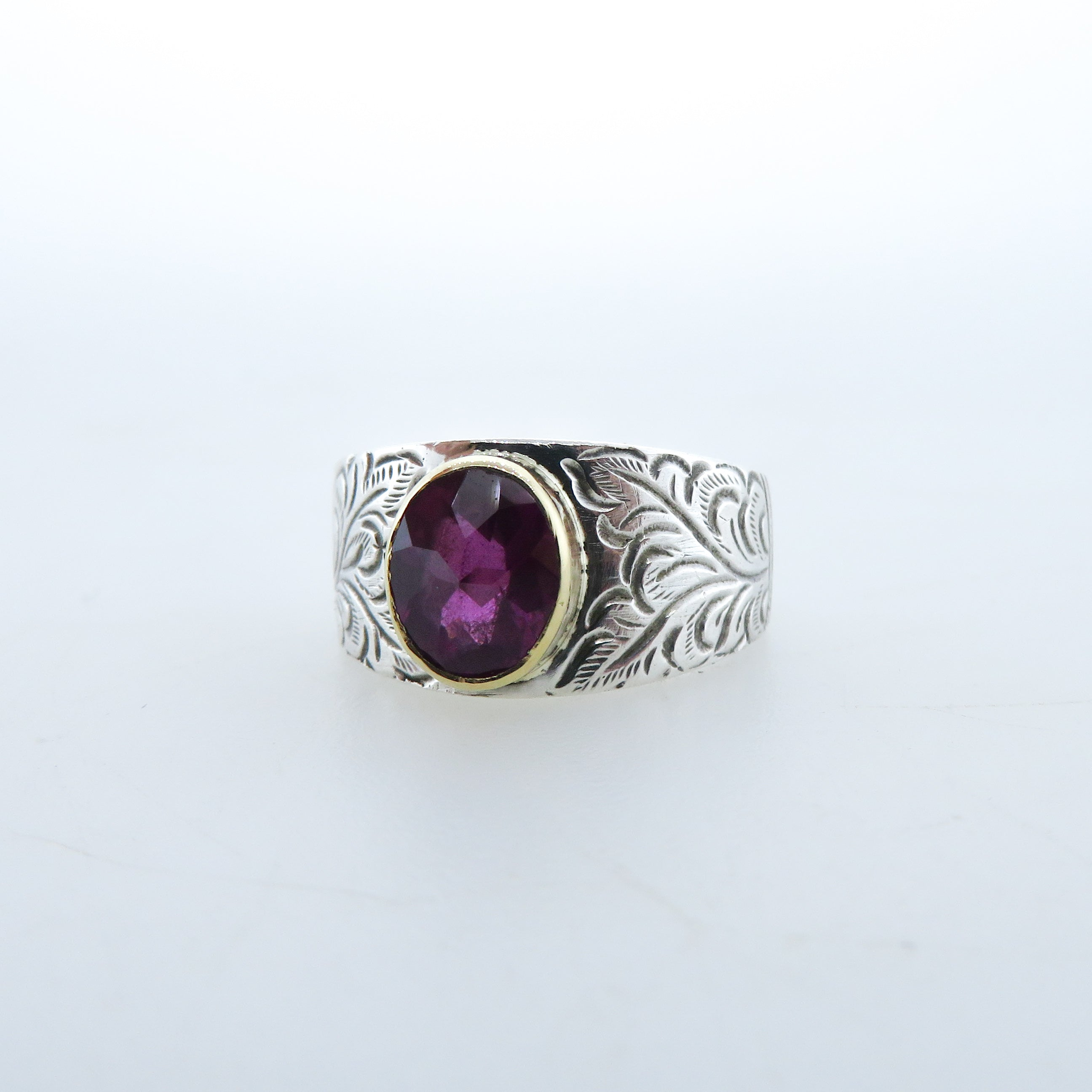 Pink Tourmaline Sterling Silver Ring with 18k Gold
