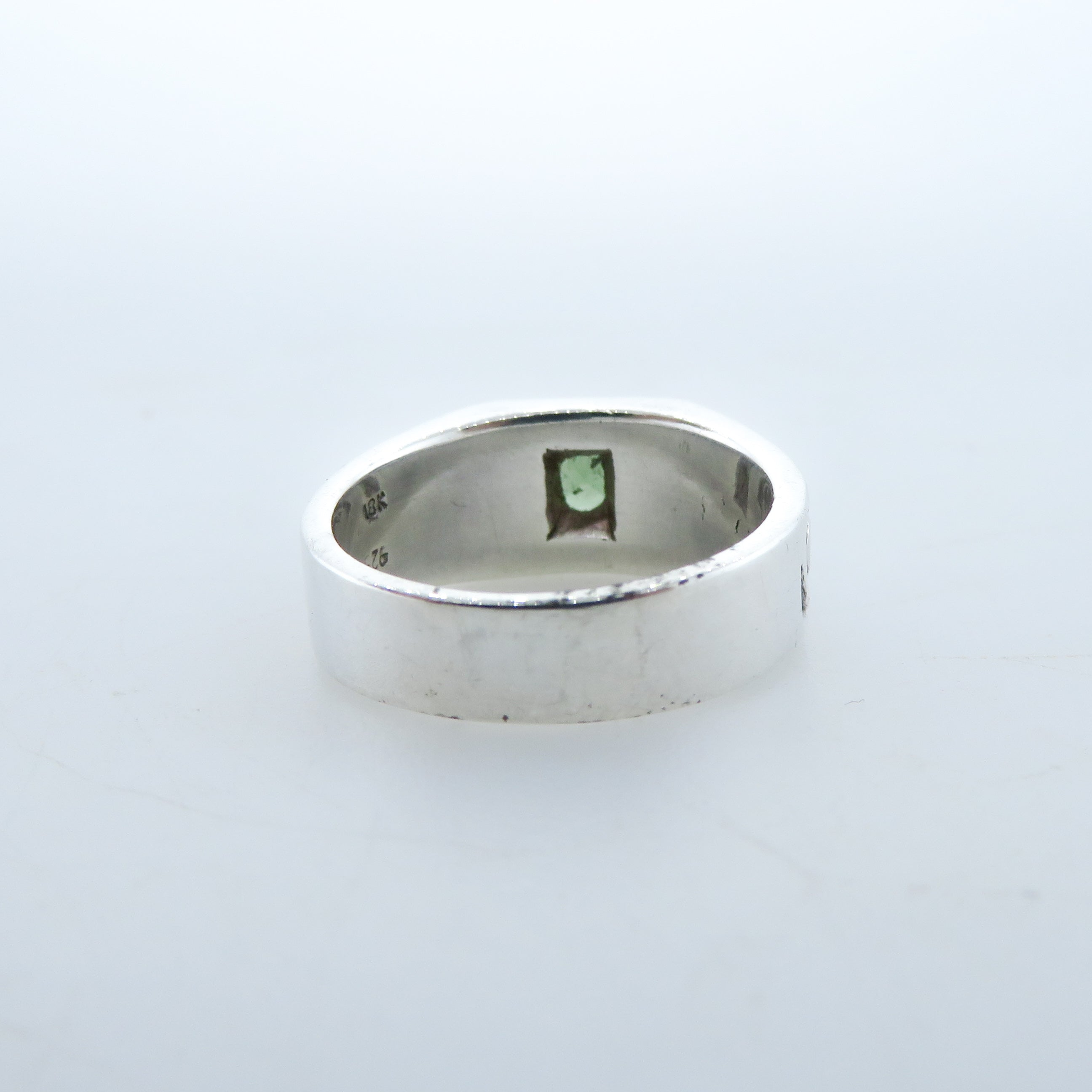 Moldavite (Meteorite) Sterling Silver Ring with 18k Gold