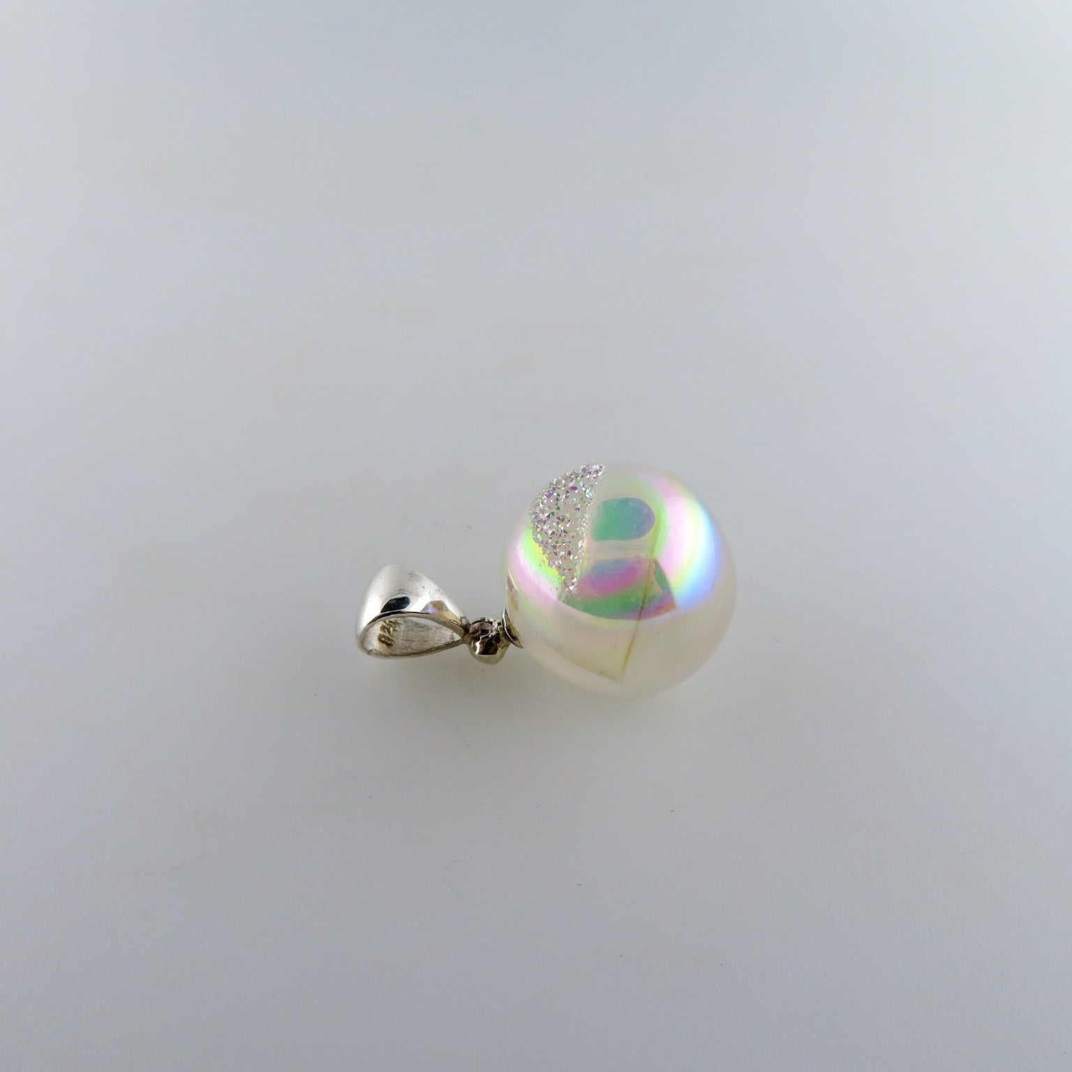 Drusy Quartz Sphere Pendant with Sterling Silver