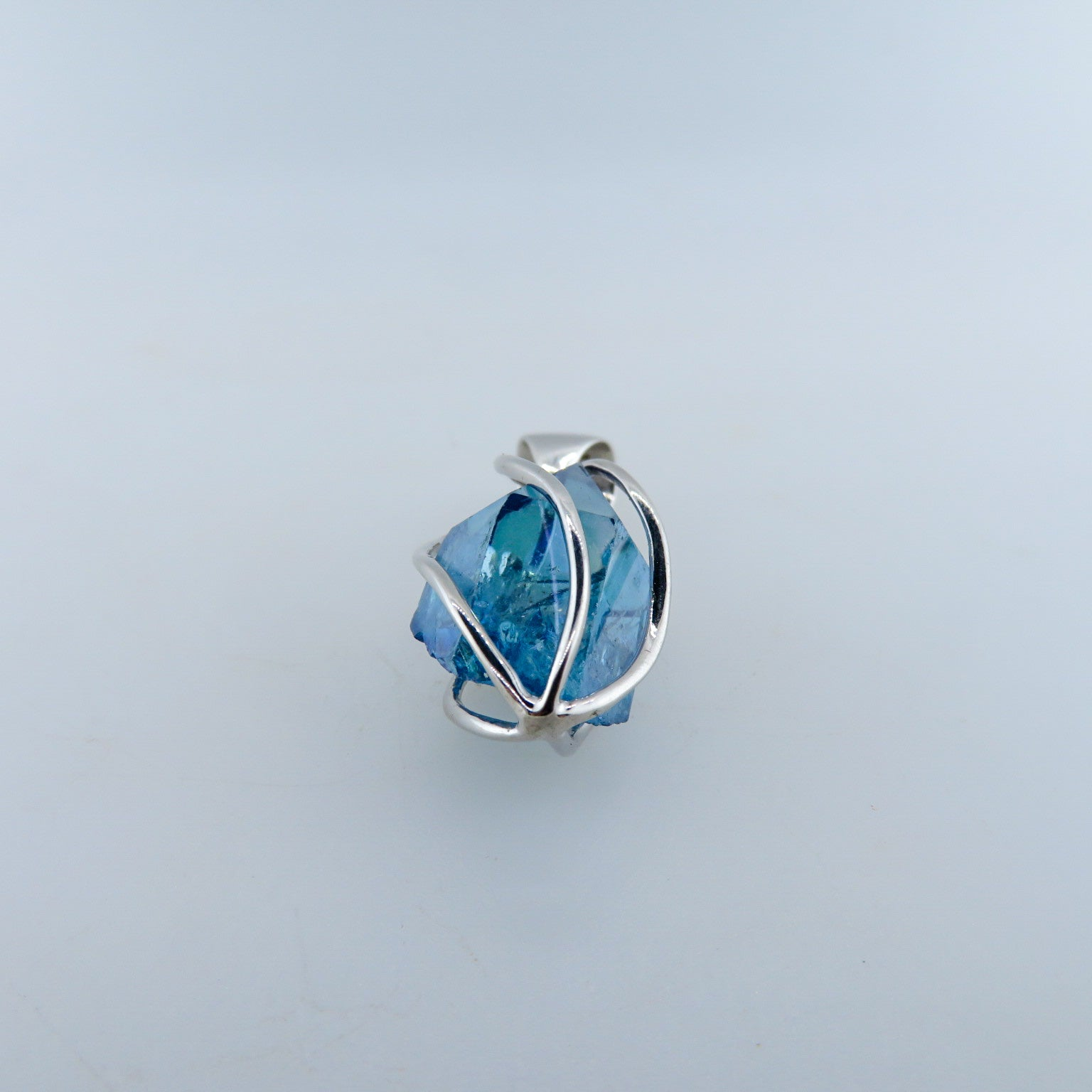 Aqua Aura Quartz Pendant with Sterling Silver