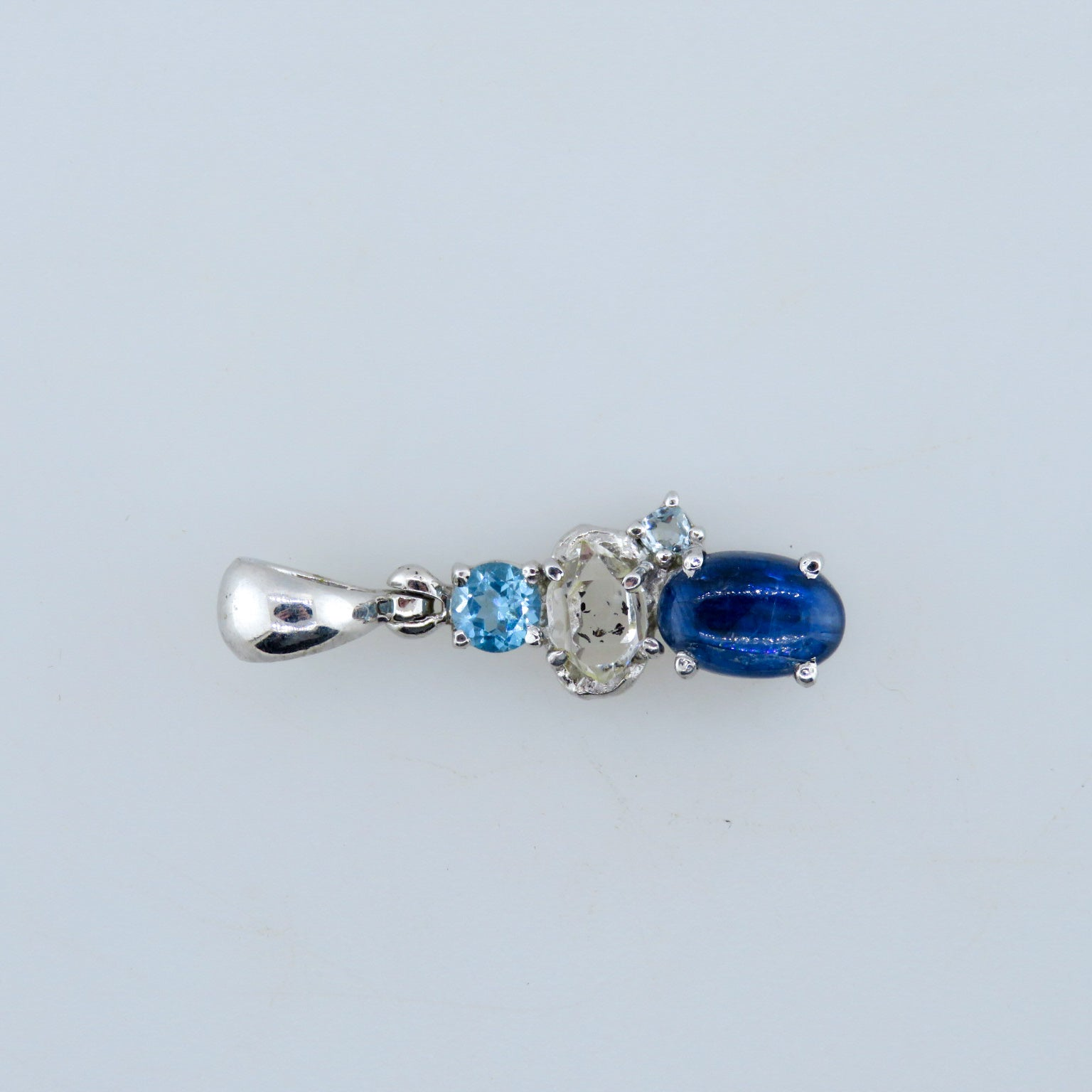 Kyanite Sterling Silver Pendant with Herkimar Diamond Quartz and Blue Topaz
