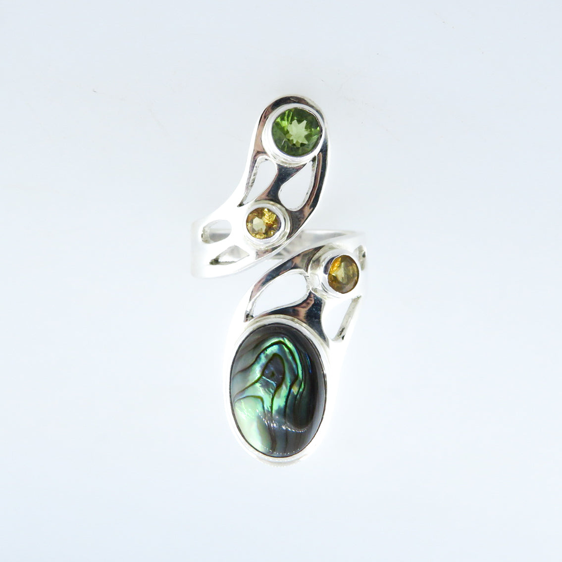 Sterling Silver Ring with Paua Shell (Rainbow Abalone), Citrine and Peridot