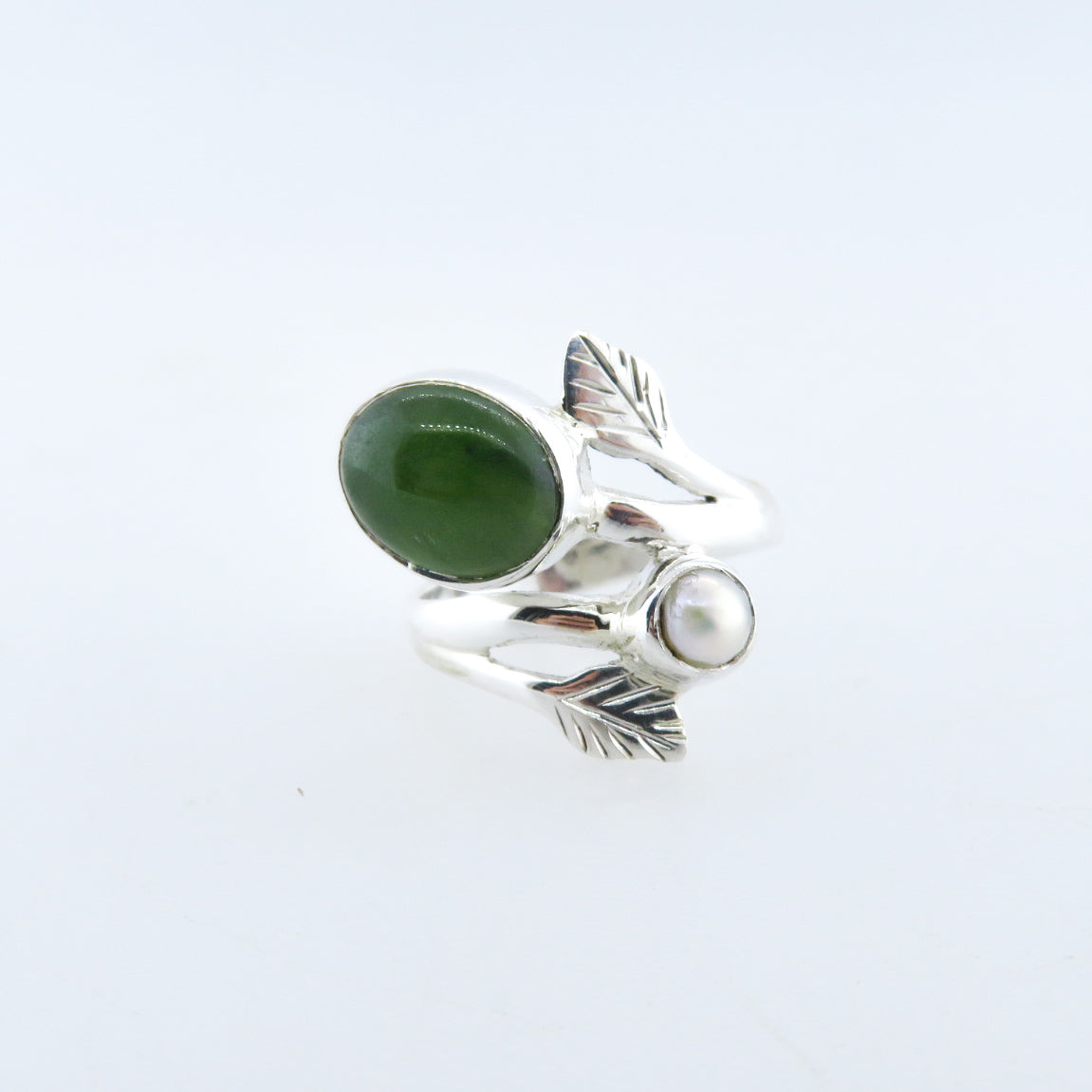 Sterling Silver Ring with Nephrite and Fresh Water Pearl