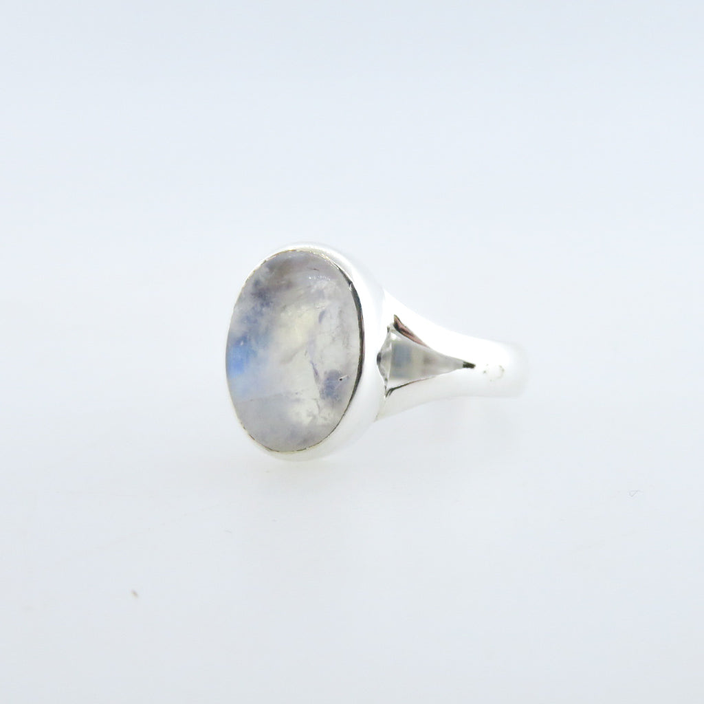 Sterling Silver Ring with Rainbow Moon Stone
