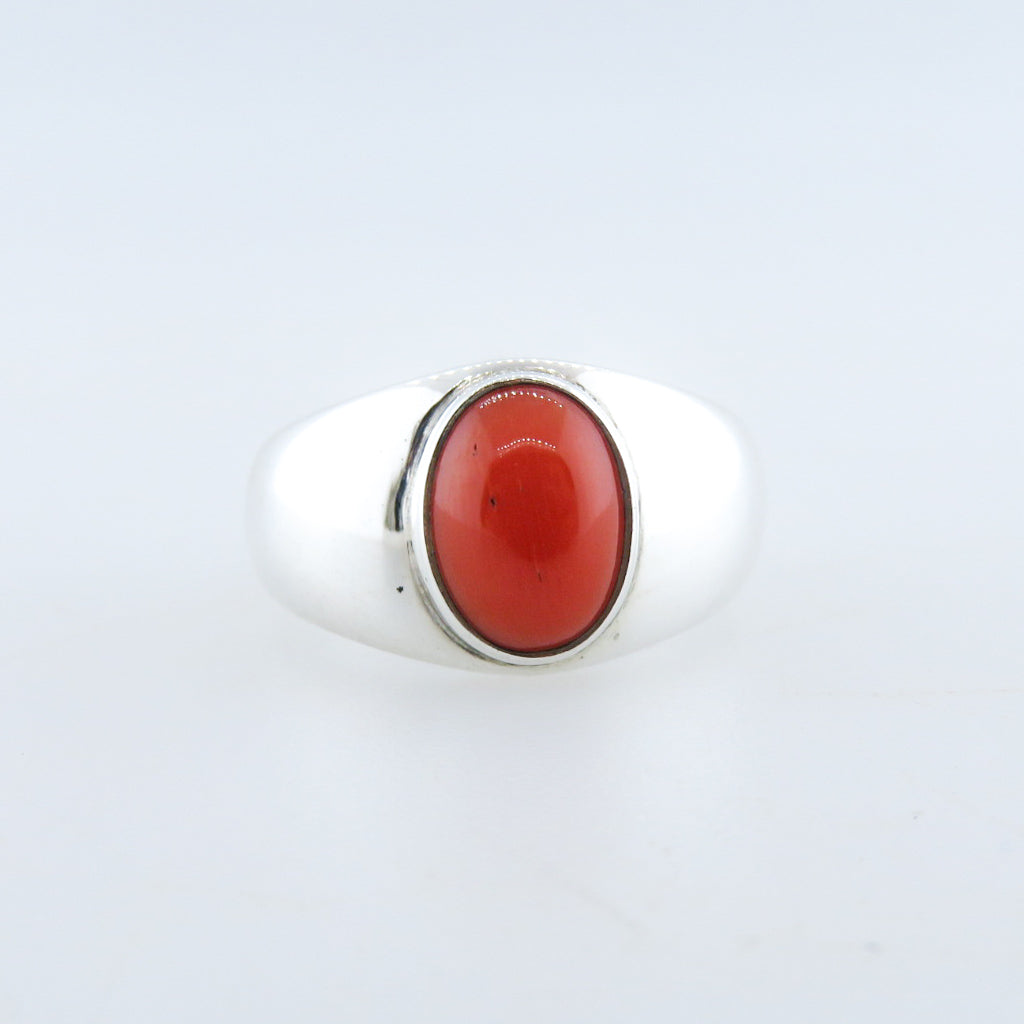 Sterling Silver Ring with Italian Red Coral