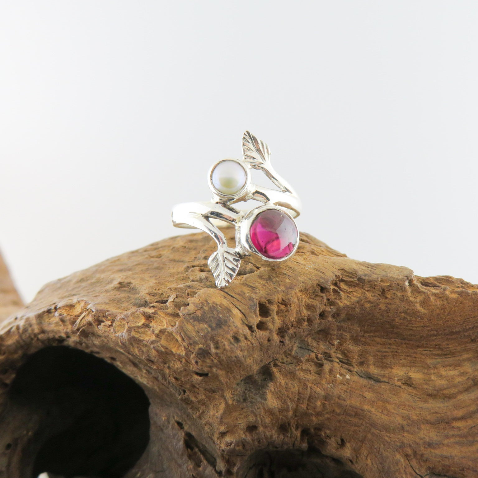 Sterling Silver Ring with Garnet and Fresh Water Pearl