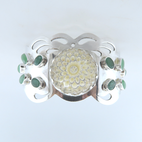 Mother of Pearl (Flower Curved) Sterling Silver Bangle with Emerald and Jade