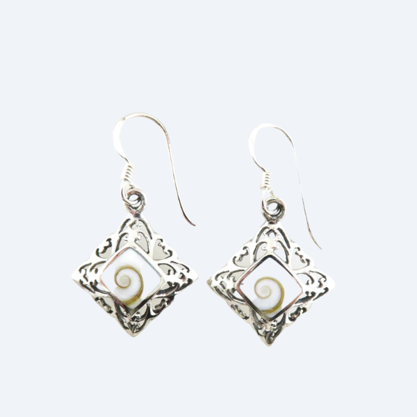 Shiva Eye Shell Earrings with Sterling Silver