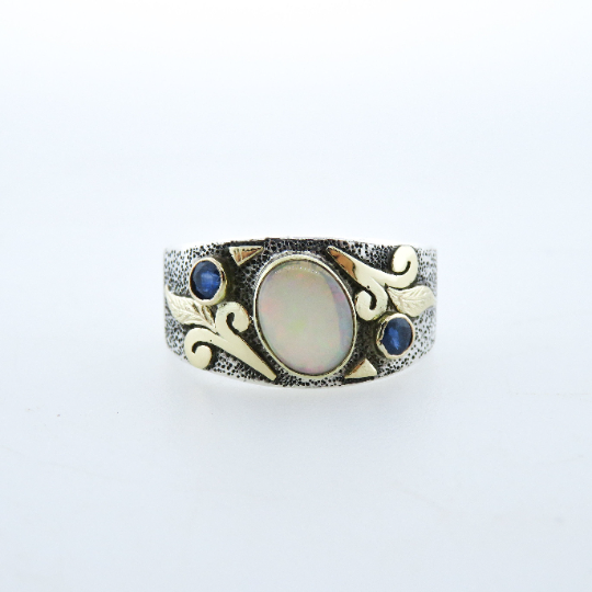 Australian Opal Sterling Silver Ring with Blue Sapphire and 18k Gold