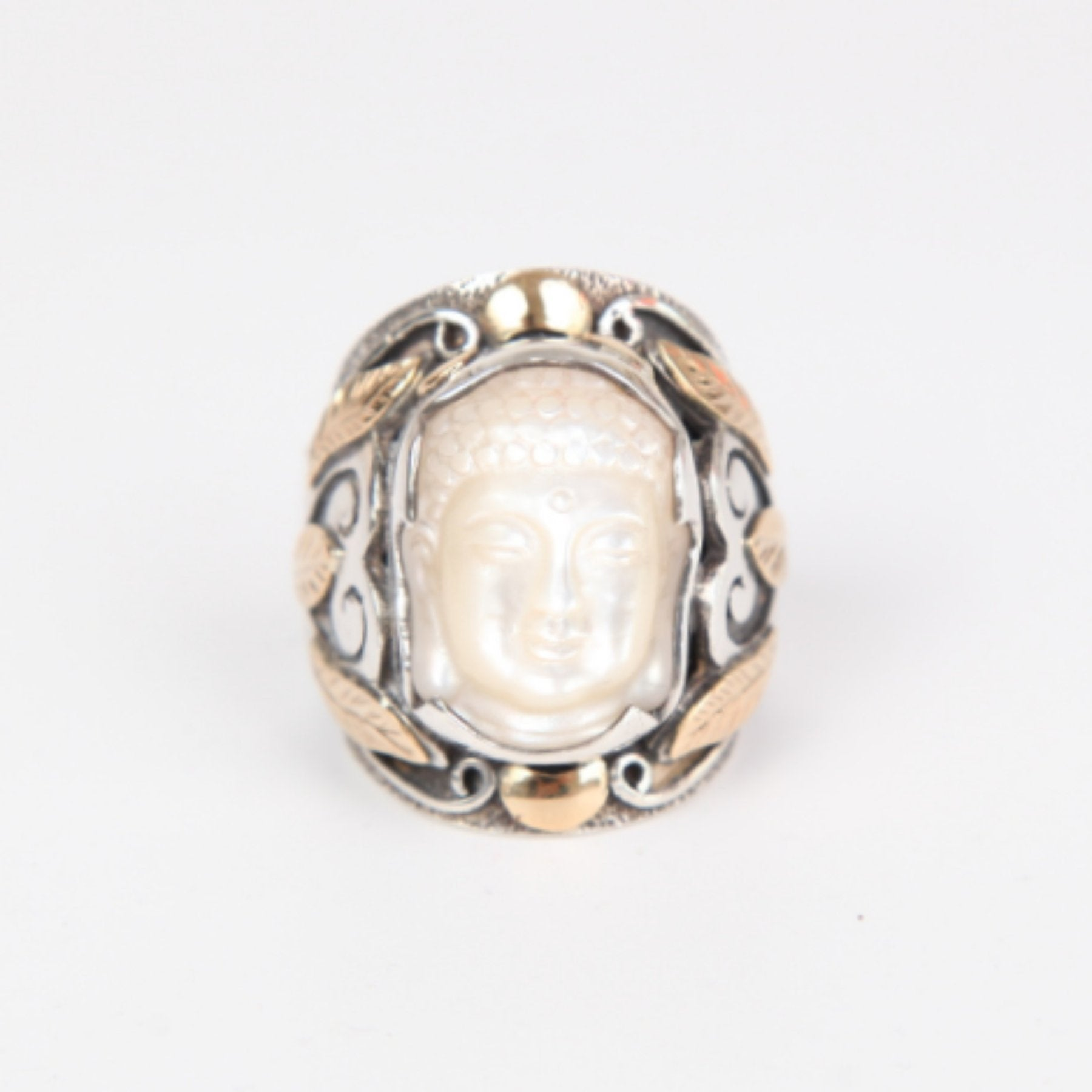 Mother of Pearl Buddha Head Ring with Sterling Silver and 18k Gold