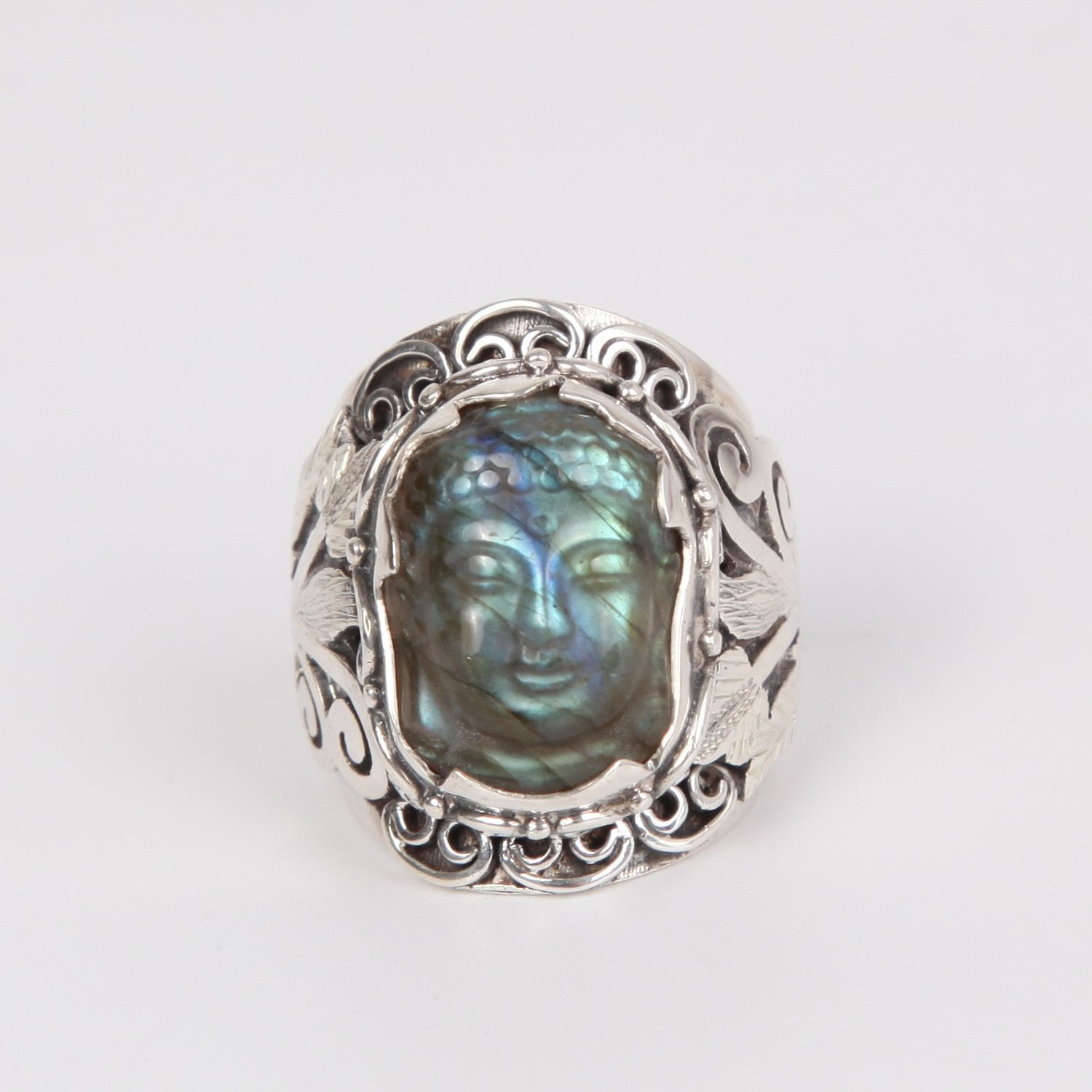 Labradorite Buddha Head Ring with Sterling Silver
