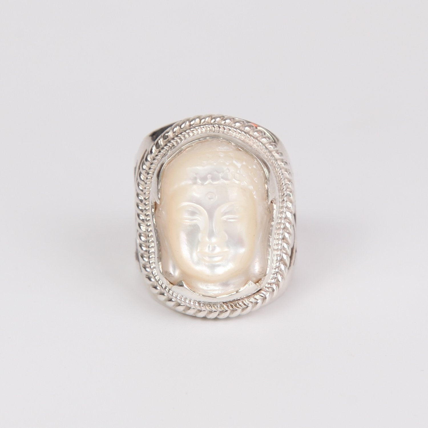 Mother of Pearl Buddha Head Ring Detailed with Sterling Silver