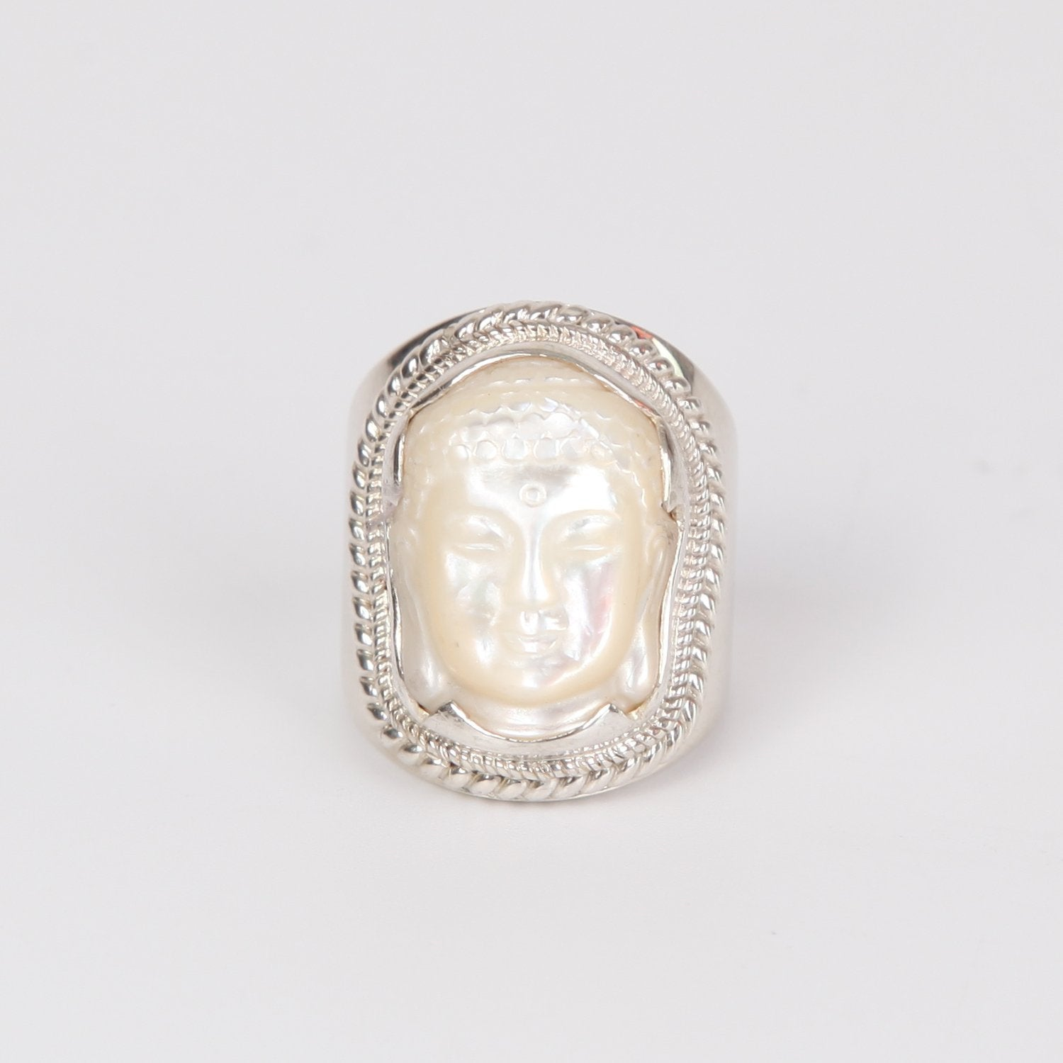 Mother of Pearl Buddha Head Curved Ring with Sterling Silver