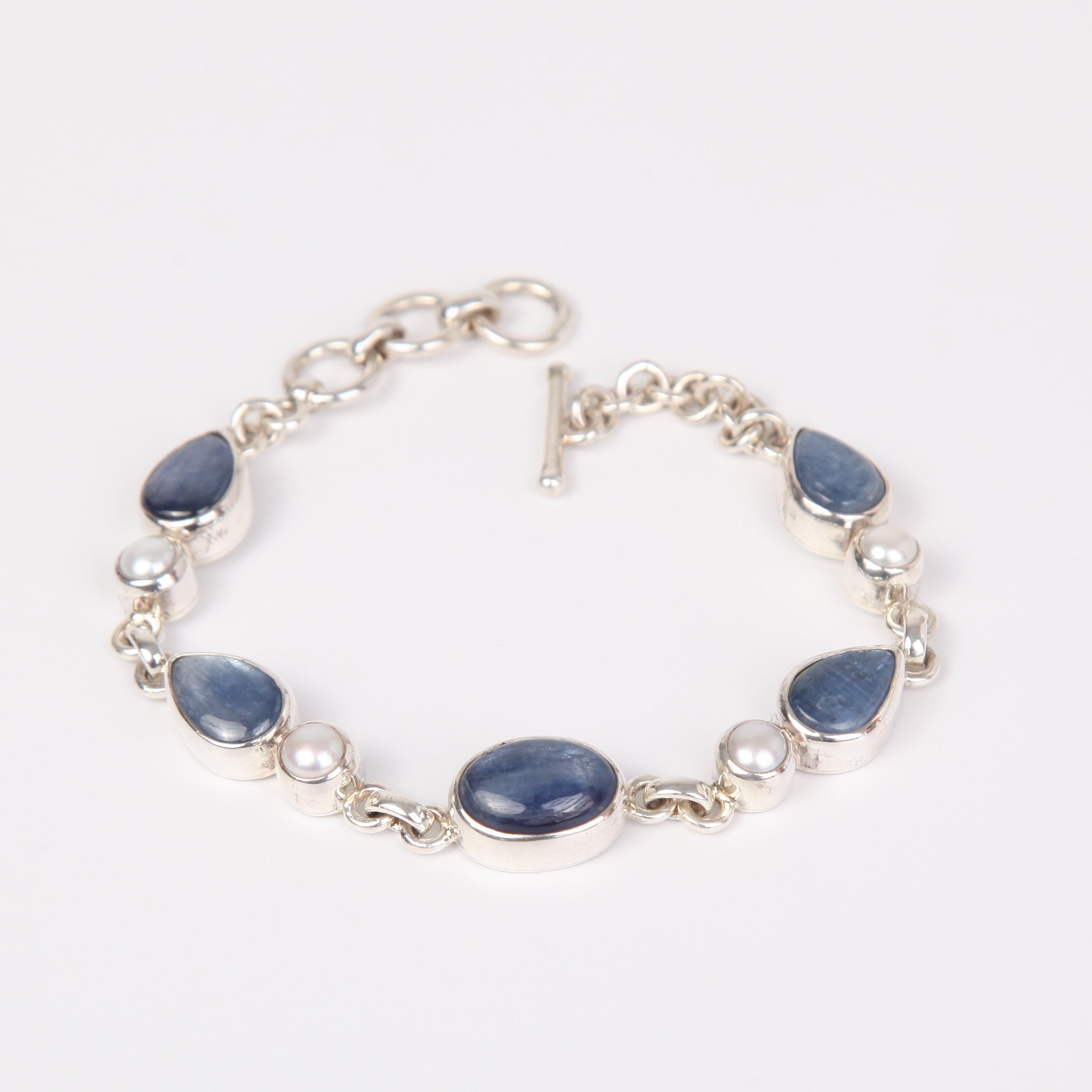 Kyanite Sterling Silver Bracelet with Fresh Water Pearls