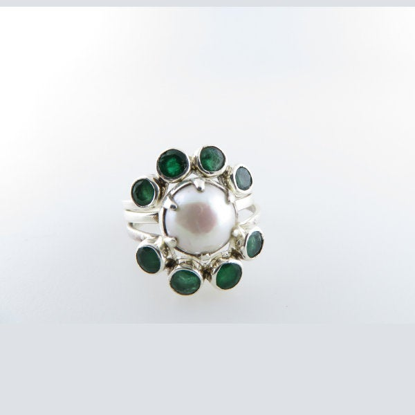 Three Piece Sterling Silver Ring with Fresh Water Pearl and Emerald