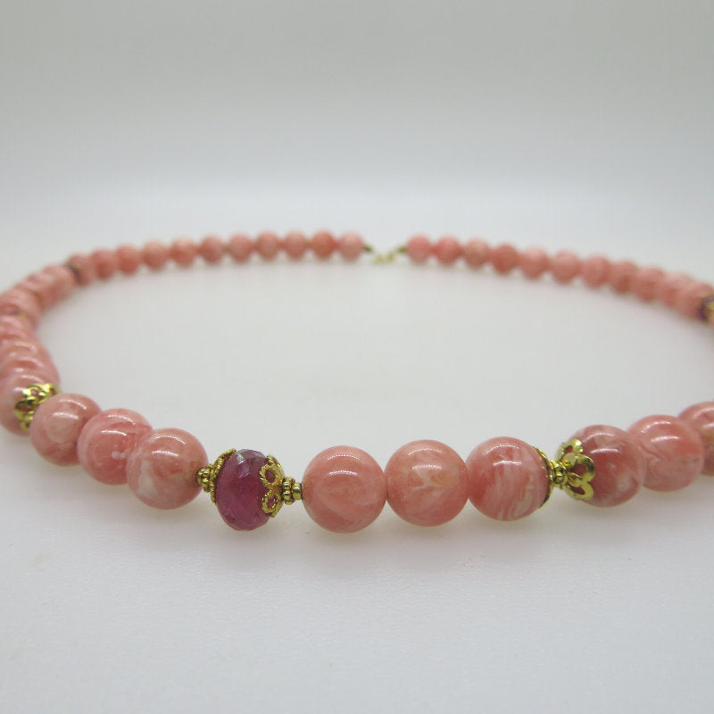 Rhodochrosite  Necklace with Ruby and 18K Gold