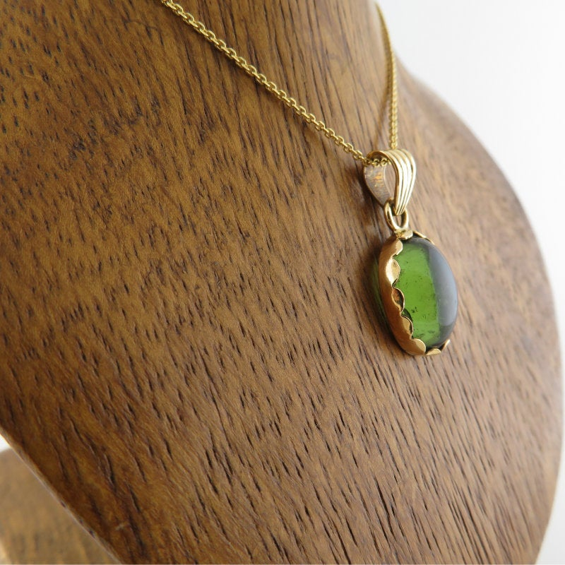 Moldavite Pendant with 18K Gold.