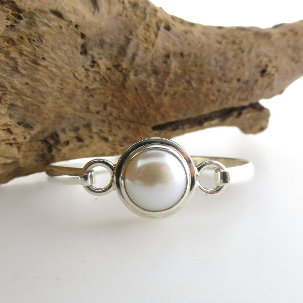 Fresh Water Pearls Bangle with Sterling Silver