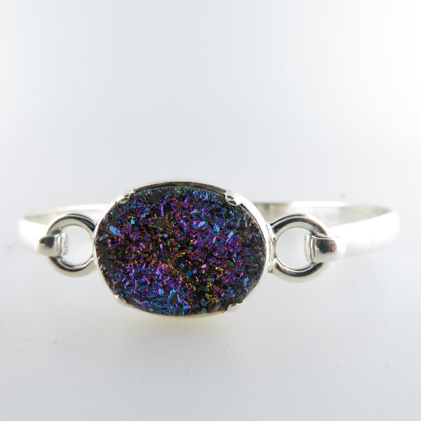 Drusy Quartz Bangle with Sterling Silver