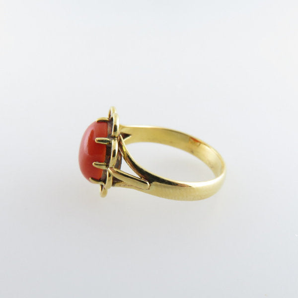 18K Gold Ring with Italian Red Coral