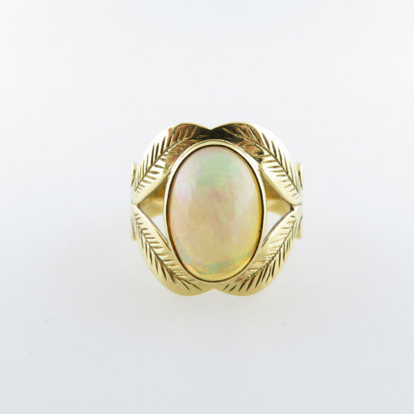 18K Gold Ring with Ethiopian Opal