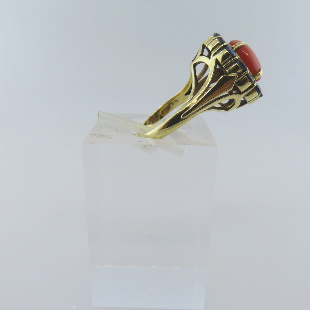 18K Gold Ring with Italian Red Coral and Blue Sapphire