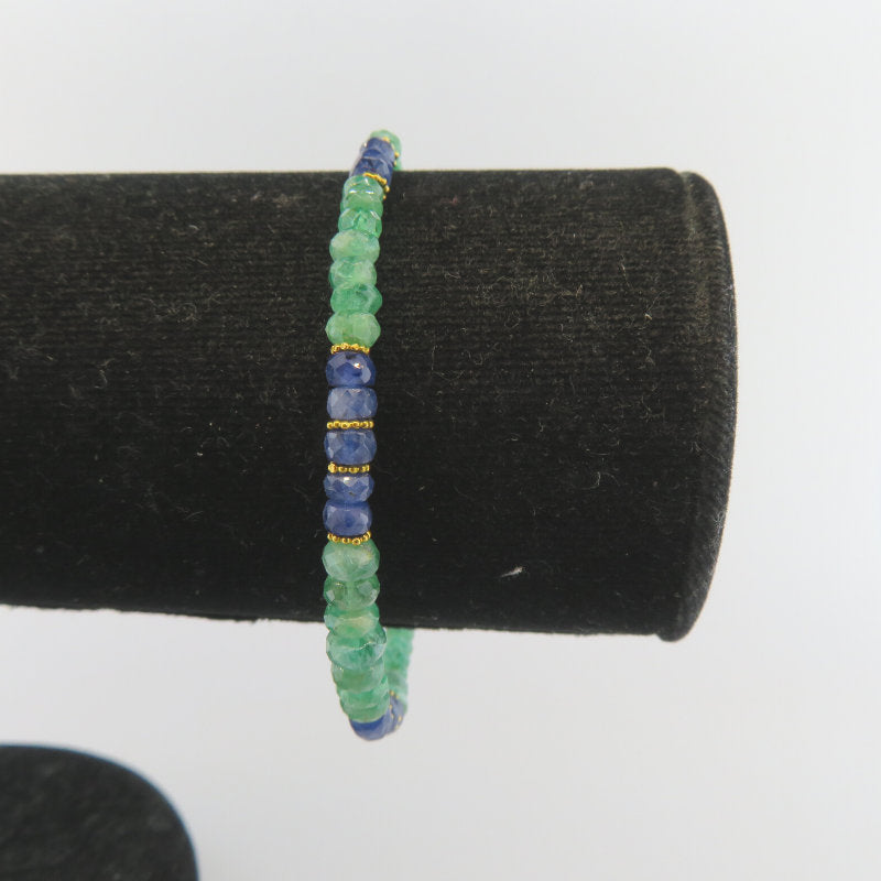 Emerald 18K Gold Bracelet with Blue Sapphire
