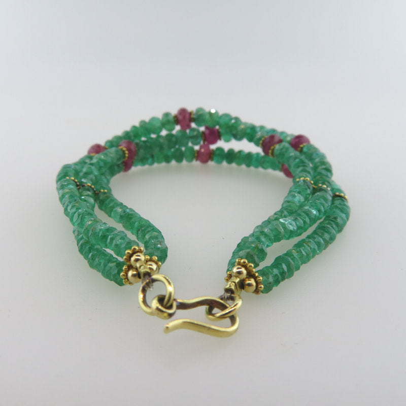 Emerald 18K Gold Bracelet with Ruby