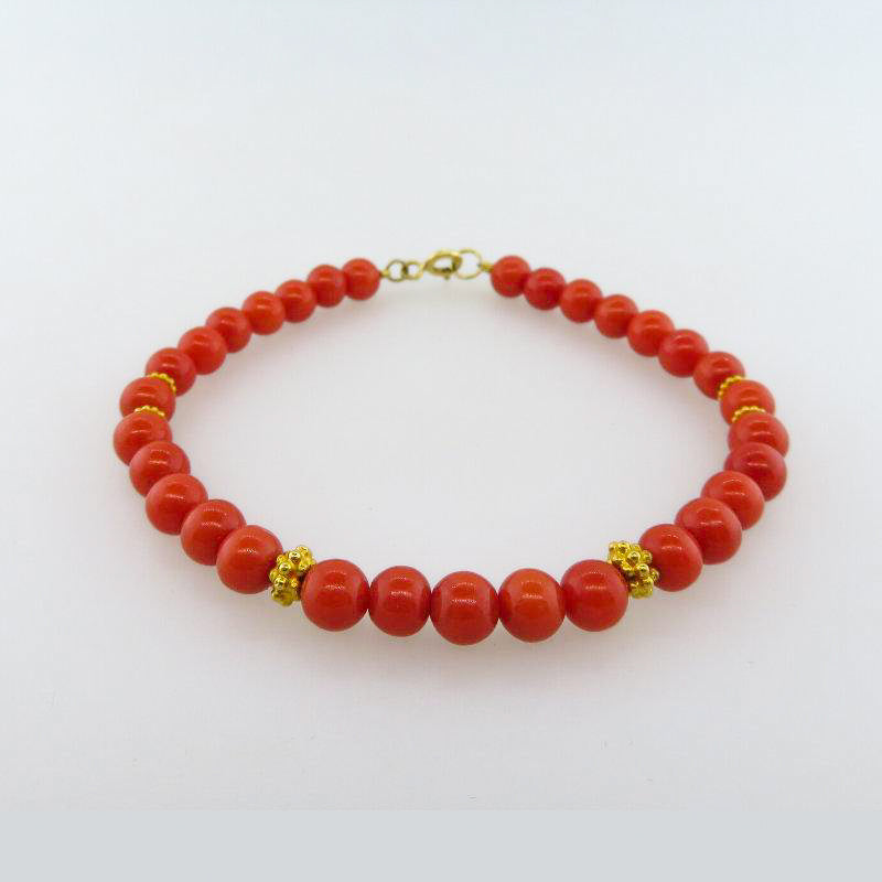 Italian Red Coral Bracelet with 18K Gold