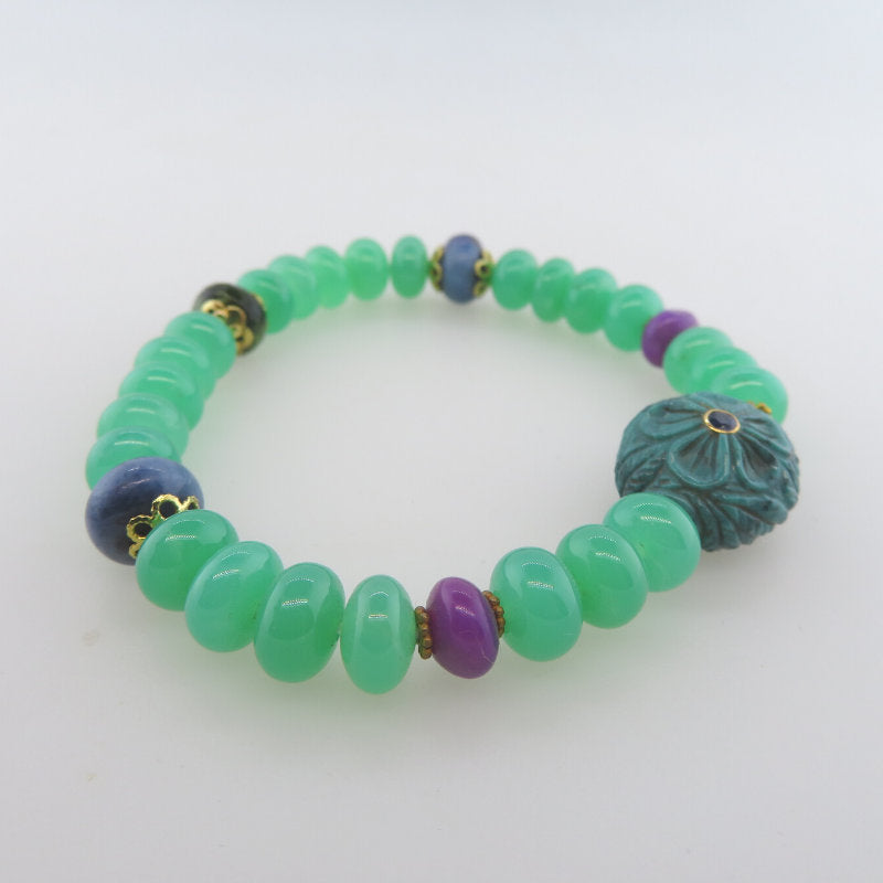 Chrysoprase 18K Gold Bracelet with Turquoise, Sugilite and Moldavite