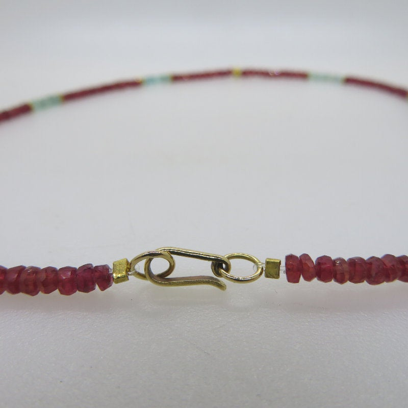 Ruby 18K Gold Necklace with Tourmaline
