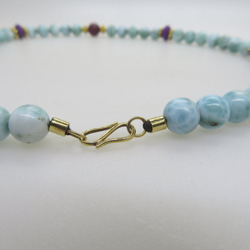 Larimar Stone 18K Gold Necklace with Sugilite
