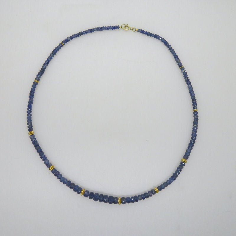Blue Sapphire Necklace with 18K Gold